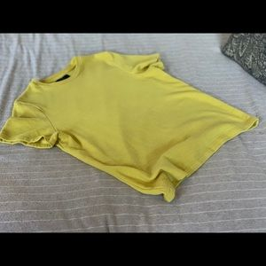 Zara Mens small ribbed s/s sweater canary yellow